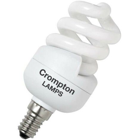 """main image of """"Crompton Lamps CFL T2 Mini Helix Spiral 11W SES-E14 (50W Equivalent) 2700K Warm White Frosted 650lm SES Small Screw E14 Energy Saving Compact Fluorescent Opal Light Bulb"""""""