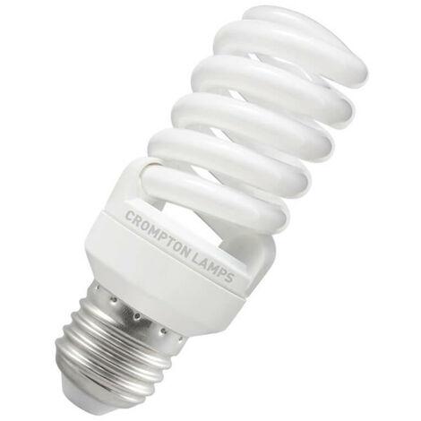 Crompton Lamps CFL T2 Mini Helix Spiral 15W ES-E27 2700K Warm White Frosted 850lm Crompton Lamps CFL T2 Mini Helix Spiral ES Screw E27 Energy Saving CFL Compact Fluorescent Opal Light Bulb