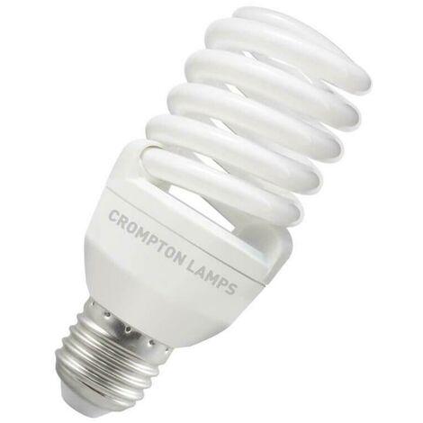 Crompton Lamps CFL T2 Mini Helix Spiral 20W ES-E27 2700K Warm White Frosted 1200lm Crompton Lamps CFL T2 Mini Helix Spiral ES Screw E27 Energy Saving CFL Compact Fluorescent Opal Bright Light Bulb
