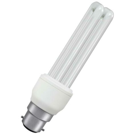 Crompton Lamps CFL Tubular 11W BC-B22d T4 Stick (50W Eqv) 2700K Warm White Frosted 670lm Compact Fluorescent Opal Light Bulb