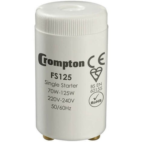 Crompton Lamps Fluorescent Starter 125W Crompton Lamps Fluorescent Starter Starters 2-Pin