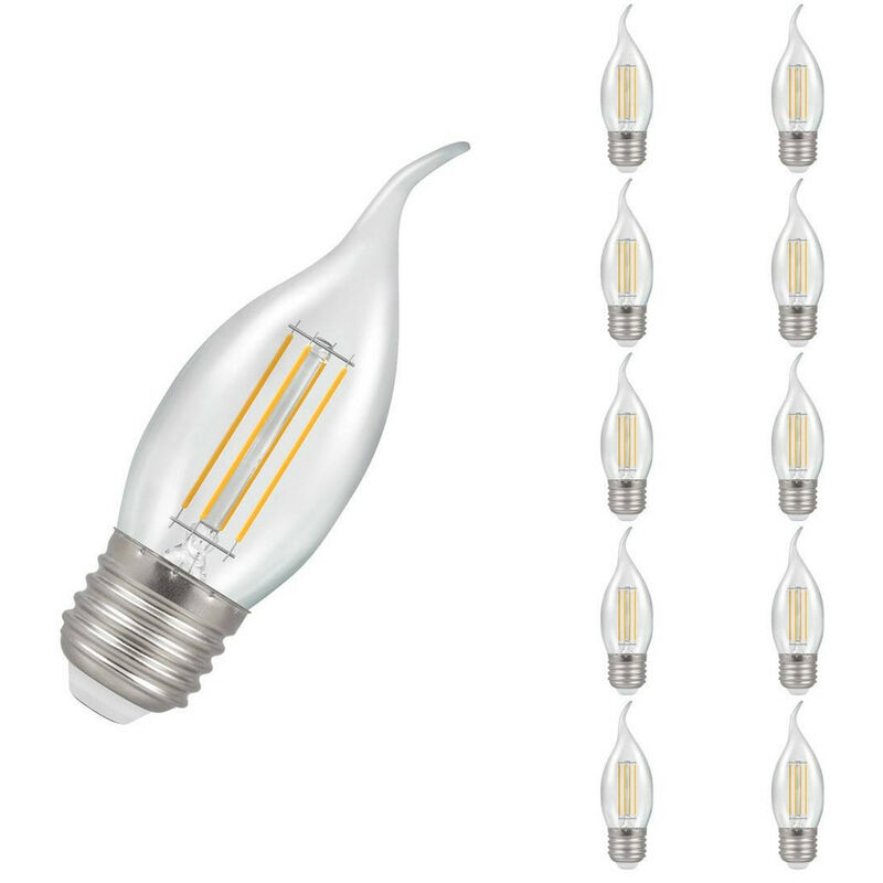 Image of (10 Pack) Crompton Lamps LED Bent Tip Candle 5W ES-E27 Dimmable Filament (40W Equivalent) 2700K Warm White Clear 470lm ES Screw E27 C35 Flare-Tip