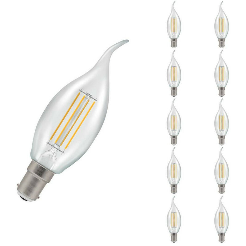 Image of (10 Pack) Crompton Lamps LED Bent Tip Candle 5W SBC-B15d Dimmable Filament (40W Equivalent) 2700K Warm White Clear 470lm SBC Small Bayonet B15 C35