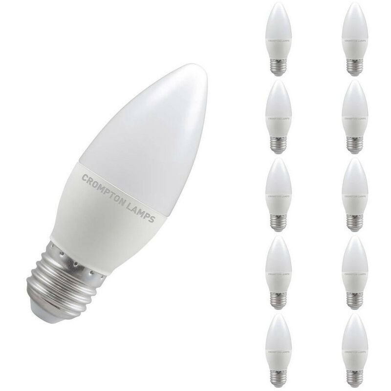 Image of (10 Pack) Crompton Lamps LED Candle 5.5W ES-E27 (40W Equivalent) 6500K Daylight Opal 470lm ES Screw E27 Frosted Thermal Plastic Multipack Light Bulbs