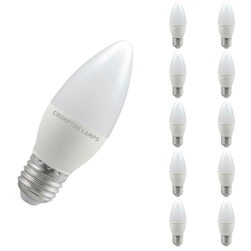 Image of (10 Pack) Crompton Lamps LED Candle 5.5W ES-E27 (40W Equivalent) 2700K Warm White Opal 470lm ES Screw E27 Frosted Thermal Plastic Multipack Light