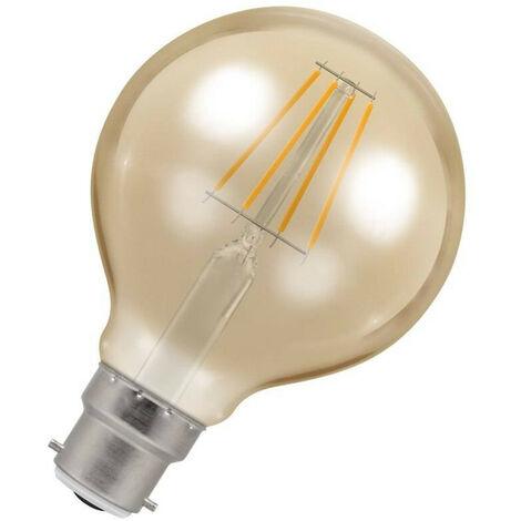 Crompton Lamps LED Globe 5W BC-B22d Dimmable Filament (35W Eqv) 2200K Extra Warm White Antique Bronze 410lm G80 Vintage Edison Large Light Bulb