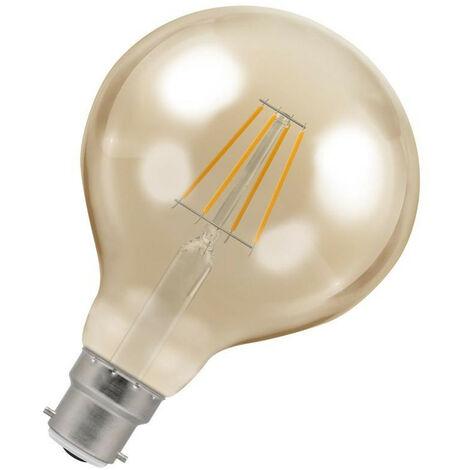 Crompton Lamps LED Globe 5W BC-B22d Dimmable Filament (40W Eqv) 2200K Extra Warm White Antique Bronze 410lm G95 Vintage Edison Large Light Bulb