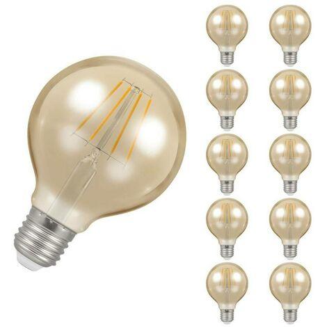Crompton Lamps LED Globe 5W ES-E27 Dimmable Filament (10 Pack) (35W Eqv) 2200K Extra Warm White Antique Bronze 410lm Crompton Lamps LED Globe ES Screw E27 G80 Vintage Edison Large Light Bulbs