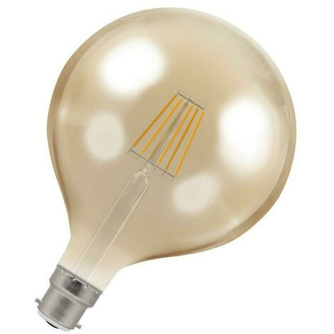 Crompton Lamps LED Globe 7.5W BC-B22d Dimmable Filament (60W Eqv) 2200K Extra Warm White Antique Bronze 638lm Crompton Lamps LED Globe BC Bayonet B22 G125 Vintage Edison Large Light Bulb