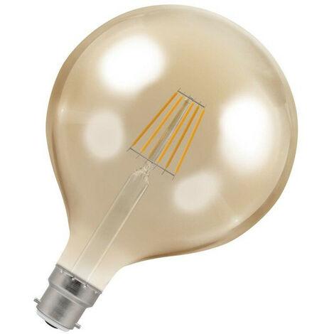 Crompton Lamps LED Globe 7.5W BC-B22d Dimmable Filament (60W Eqv) 2200K Extra Warm White Antique Bronze 638lm G125 Vintage Edison Large Light Bulb
