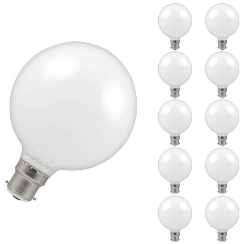 Image of (10 Pack) Crompton Lamps LED G95 Globe 7W BC-B22d Dimmable (60W Equivalent) 2700K Warm White Opal 806lm BC Bayonet B22 Large Multipack Light Bulbs