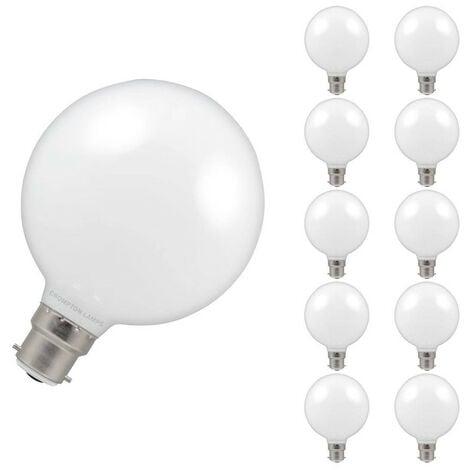 Crompton Lamps LED Globe 7W BC-B22d Dimmable (10 Pack) 2700K Warm White Opal 806lm Crompton Lamps LED Globe BC Bayonet B22 G95 Large Light Bulbs