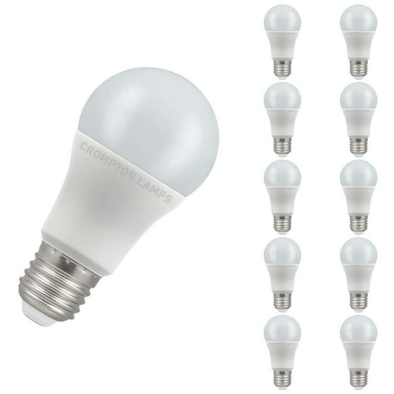 Image of (10 Pack) Crompton Lamps LED GLS 11W ES-E27 (75W Equivalent) 4000K Cool White Opal 1055lm ES Screw E27 A60 Frosted Thermal Plastic Multipack Light
