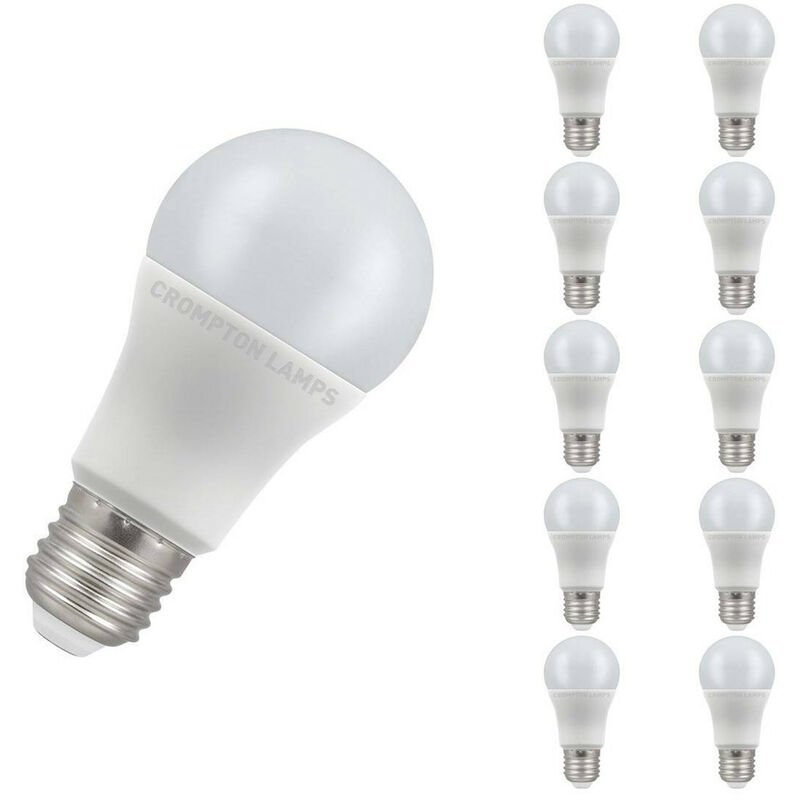 Image of (10 Pack) Crompton Lamps LED GLS 11W ES-E27 (75W Equivalent) 6500K Daylight Opal 1055lm ES Screw E27 A60 Frosted Thermal Plastic Multipack Light Bulbs