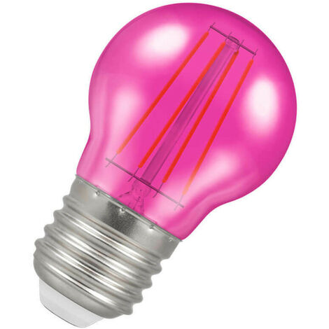Crompton Lamps LED Golfball 4W ES-E27 Harlequin IP65 Pink Translucent Round Outdoor Festoon Coloured Filament Light Bulb