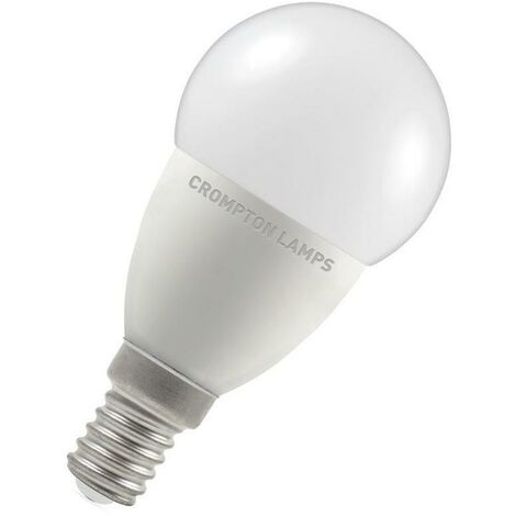 Crompton Lamps LED Golfball 5.5W SES-E14 Dimmable (40W Eqv) (40W eqv) 2700K Warm White Opal 470lm Crompton Lamps LED Golfball SES Small Screw E14 Round Frosted Thermal Plastic Light Bulb