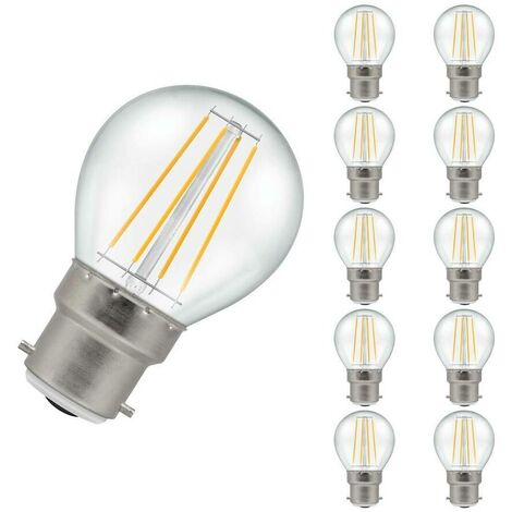 Crompton Lamps LED Golfball 5W BC-B22d Dimmable Filament (10 Pack) (40W Eqv) (40W eqv) 2700K Warm White Clear 470lm Crompton Lamps LED Golfball BC Bayonet B22 Round Light Bulbs