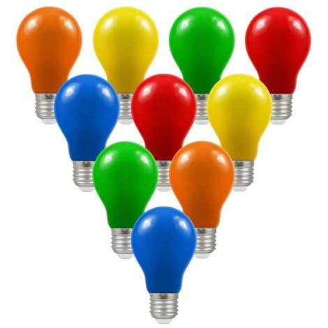 Crompton Lamps LED IP65 GLS 1.5W ES-E27 (10 Pack) Mixed A60 Outdoor Festoon Coloured Light Bulbs