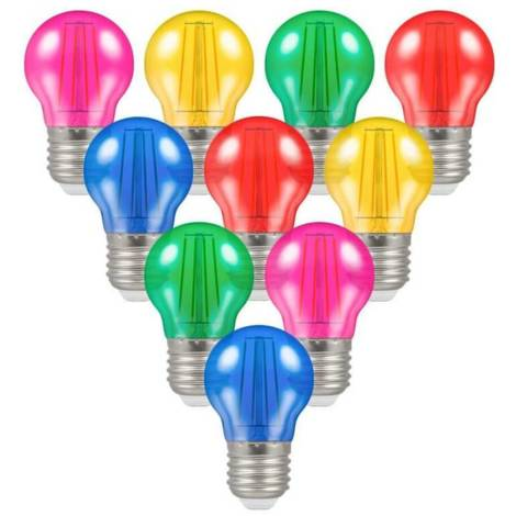 Crompton Lamps LED IP65 Golfball 4W ES-E27 (10 Pack) Mixed Translucent Round Outdoor Festoon Coloured Filament Light Bulbs
