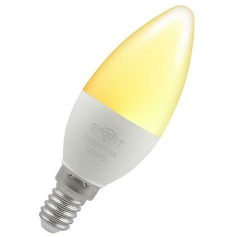 Crompton Lamps LED Smart Wifi Candle 5W SES-E14 Dimmable (40W eqv) 3000K Warm White Opal 470lm Crompton Lamps LED Smart Wifi Candle SES Small Screw E14 Amazon Alexa TUYA Thermal Plastic Google Home Light Bulb