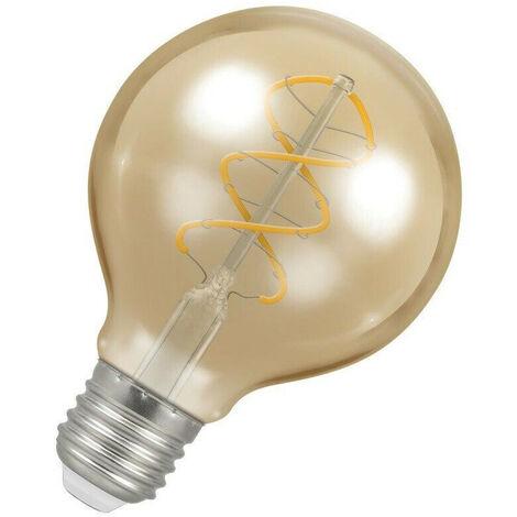 Crompton Lamps LED Spiral Globe 6W ES-E27 Dimmable Filament (25W Eqv) 2200K Extra Warm White Antique Bronze 250lm G80 Vintage Large Spiral Filament Light Bulb