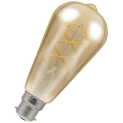 Crompton Lamps LED Spiral ST64 6W BC-B22d Dimmable Filament (25W Eqv) 2200K Extra Warm White Antique Bronze 250lm Squirrel Cage Vintage Edison Spiral Filament Light Bulb