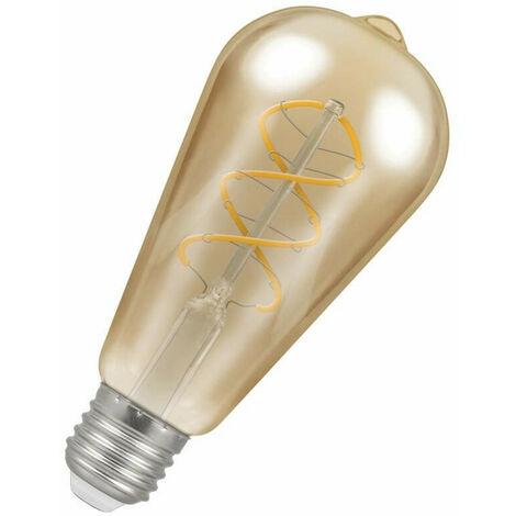 Crompton Lamps LED Spiral ST64 6W ES-E27 Dimmable Filament (25W Eqv) 2200K Extra Warm White Antique Bronze 250lm Squirrel Cage Vintage Edison Spiral Filament Light Bulb