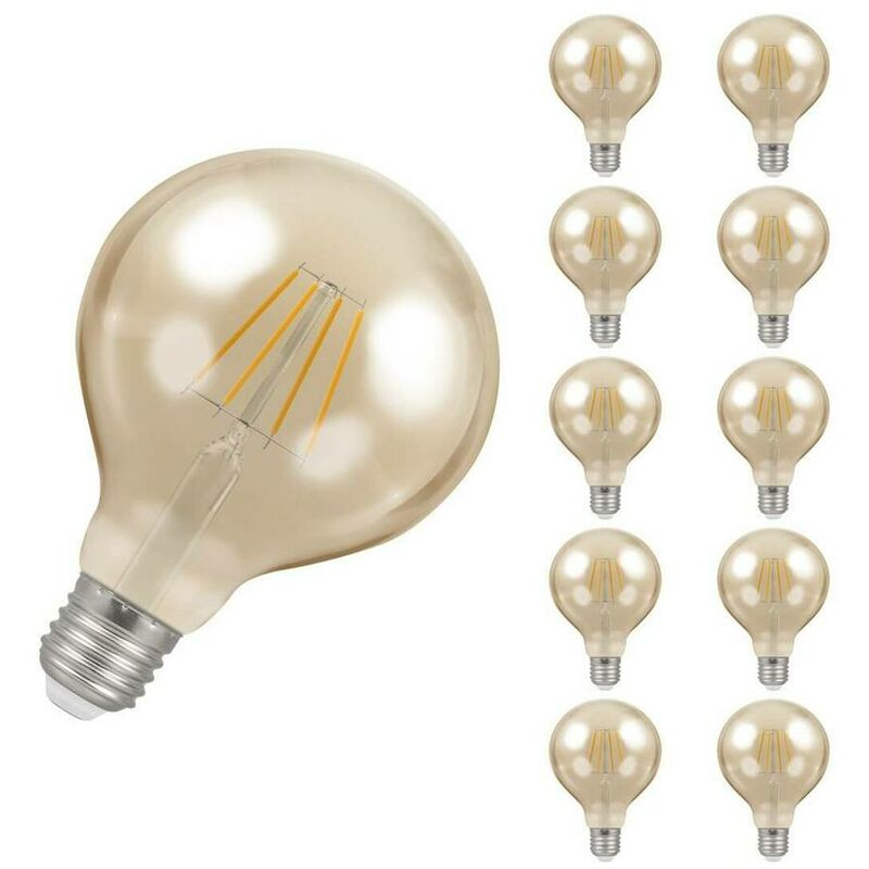Image of (10 Pack) Crompton Lamps LED Globe 5W ES-E27 Dimmable Filament (40W Equivalent) 2200K Extra Warm White Antique Bronze 410lm ES Screw E27 G95 Vintage