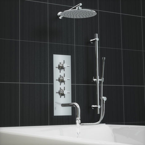 Cross Concealed Thermostatic Shower Mixer Bath Wall Tap Kit