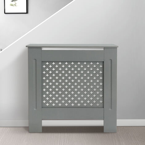 Cross Design Radiator Cover | MDF Cabinet | Grey Painted