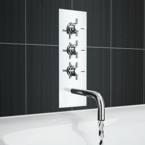 Cross Thermostatic Triple Valve Diverter Bath Shower Wall Taps