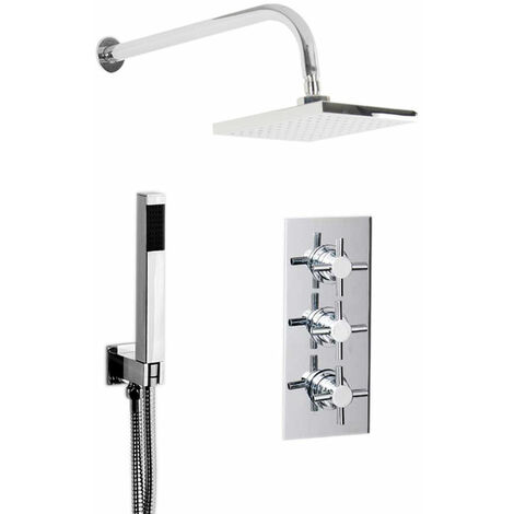 Cross Triple Thermostatic Valve Mixer Shower With Square Head & Square Outlet