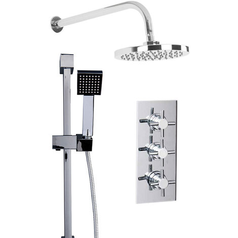 Cross Triple Thermostatic Valve With Round Shower Head & Thames Slide Rail Kit