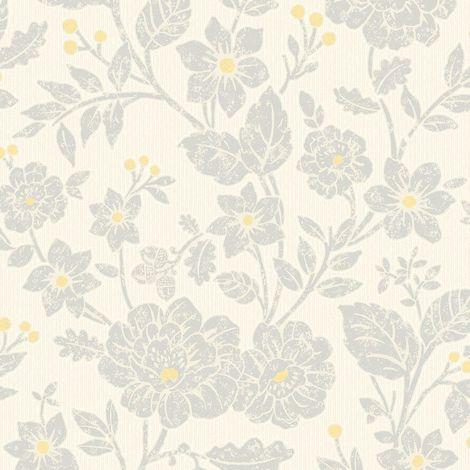 Crown Alexandra Yellow/ Grey Wallpaper