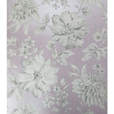 Crown Lucia Floral Mauve Wallpaper