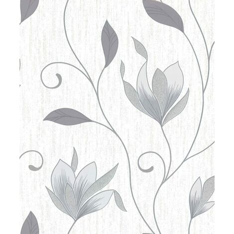 Crown M0852 Synergy Grey Floral Trails Wallpaper