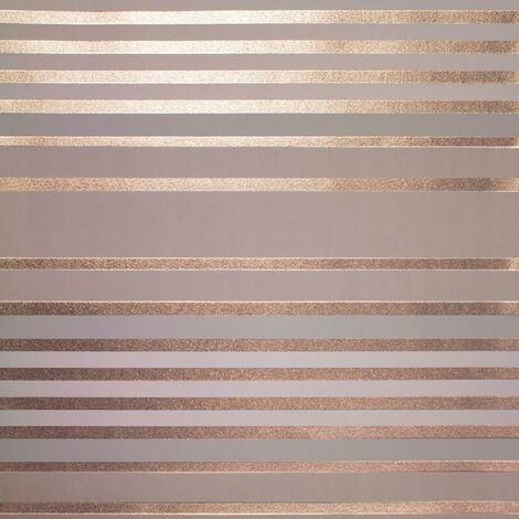 Crown Mayfair Eaton Mocha Rose Gold Wallpaper Metallic Textured Vinyl