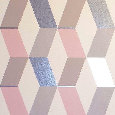 Crown Mayfair Hatton Blush Wallpaper Metallic Geometric White Grey Silver