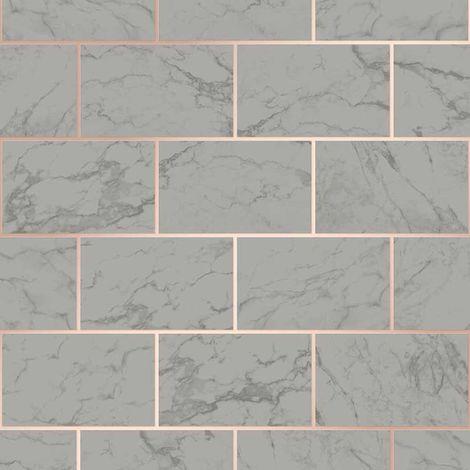 Crown Metro Brick Marble Charcoal Wallpaper