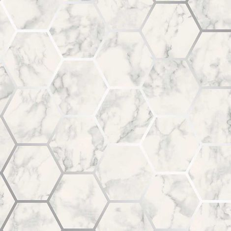 Crown Metro Hex Geo Marble Silver Wallpaper