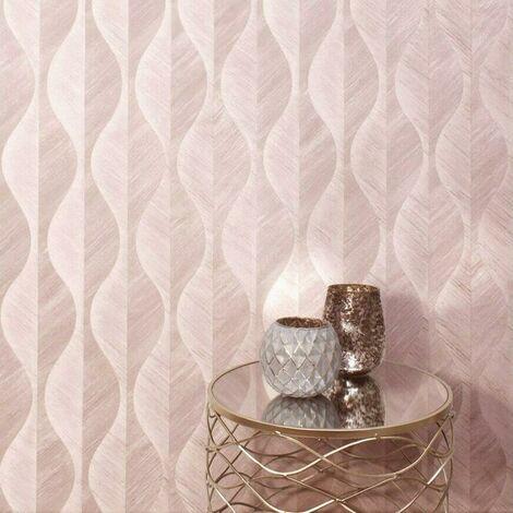 Crown Precious Organic Leaf Wallpaper Pink Rose Gold Textured Heavyweight Vinyl