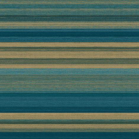 Crown Ruben Stripe Green/ Gold Wallpaper