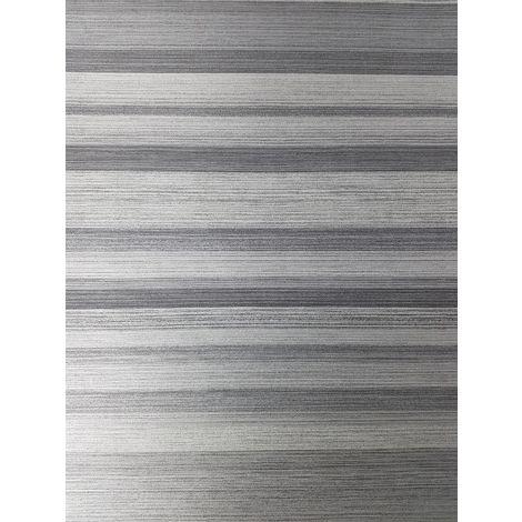 Crown Ruben Stripe Grey/ Silver Wallpaper