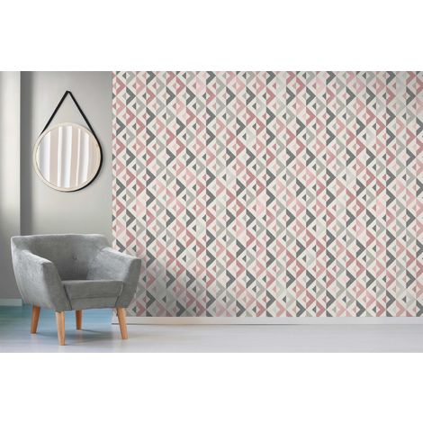 Crown Scandi Geometric Blush/ Silver Metallic Wallpaper