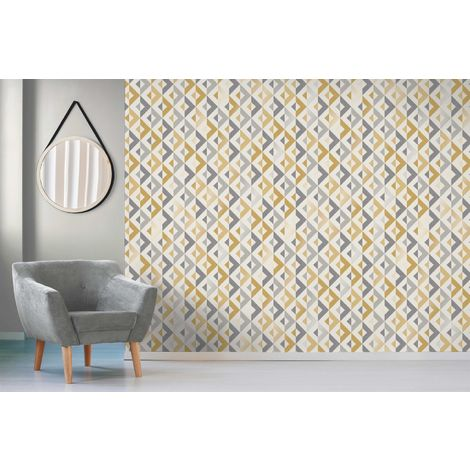 Crown Scandi Geometric Mustard/ Grey Metallic Wallpaper