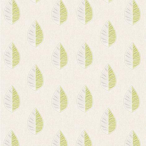 Crown Scandi Leaf Green Wallpaper
