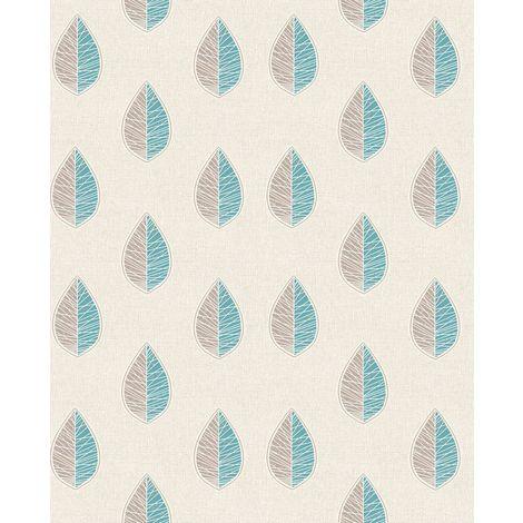 Crown Scandi Leaf Teal Wallpaper