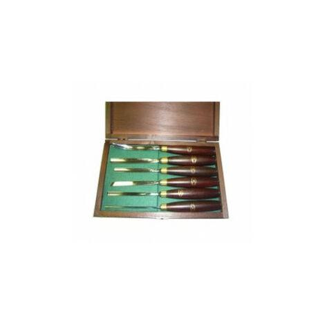 Crown : Set de 6 ciseaux de sculpteur 250 mm - coffret bois