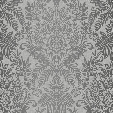 Crown Signature Frech Grey Wallpaper M1067 - Metallic Feature Damask Silver