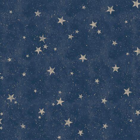 Crown Starlight Stars Navy Blue Wallpaper
